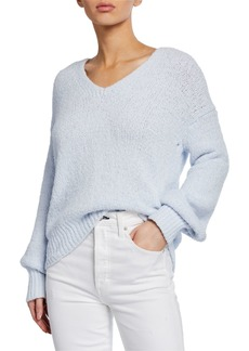 Vince Textured V-Neck Long-Sleeve Top