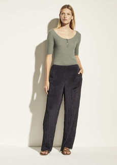Vince Textured Wide Leg Pull-On Pant