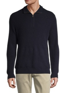 Vince Thermal Wool & Cashmere Quarter-Zip Pullover