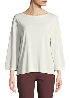 Vince Tie-Back 3/4-Sleeve Crewneck Top