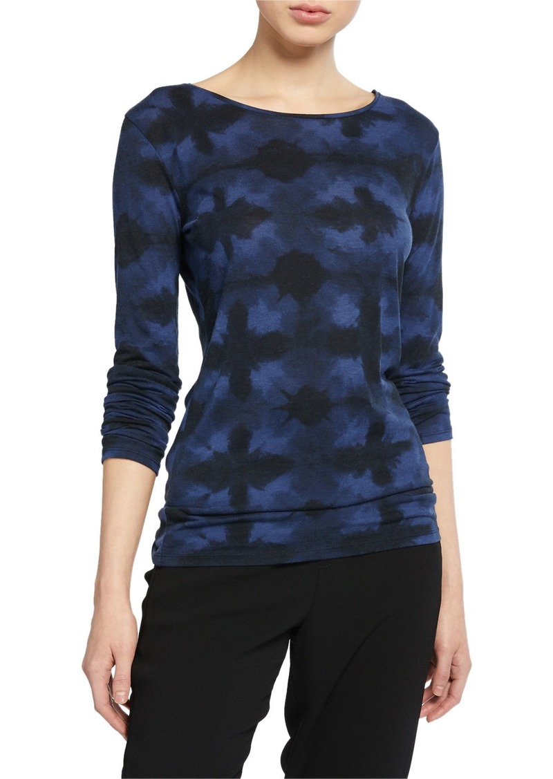 Vince Tie-Dye Boat-Neck Long-Sleeve Tee