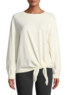 Vince Tie-Waist Cotton Crewneck Sweater