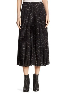Vince Tossed Ditsy Pleated Skirt