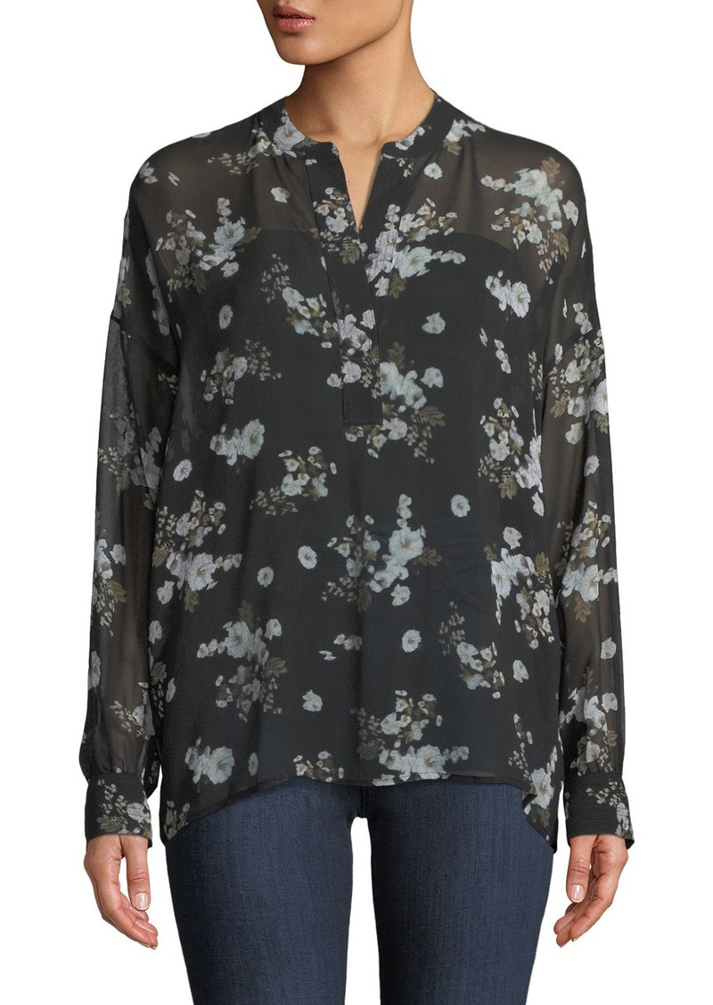 Vince Tossed Floral-Print Shirred Sheer Silk Blouse