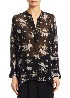 Vince Tossed Floral Shirred Silk Blouse