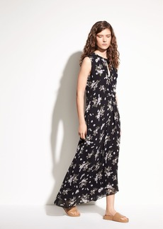 Tossed Floral Side Drape Silk Dress