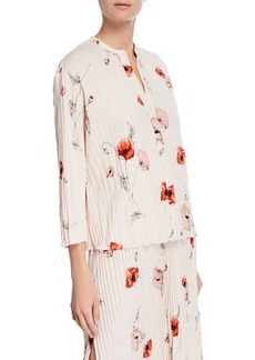Vince Tossed Poppy 3/4-Sleeve Pleated Blouse