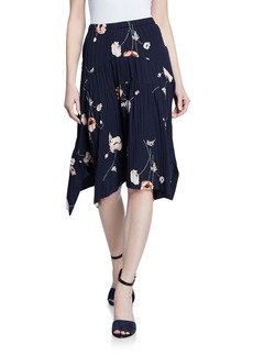 Vince Tossed Poppy Pleated Tulip Skirt