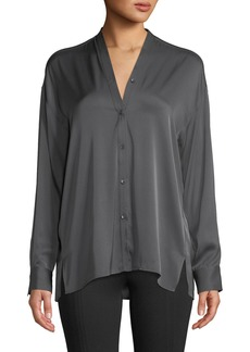 Vince Trapunto V-Neck Button-Front Silk Blouse