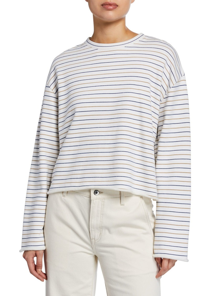 Vince Tri-Stripe Long-Sleeve Pullover Sweater
