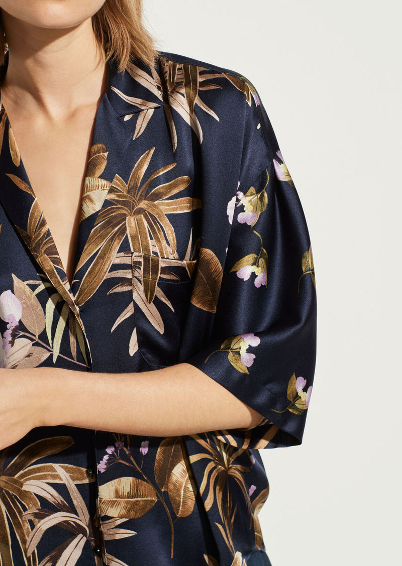 Vince Tropical Garden Satin Pajama Shirt