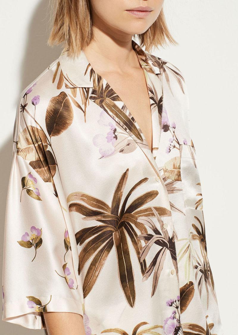 Vince Tropical Garden Satin Pajama Shirt