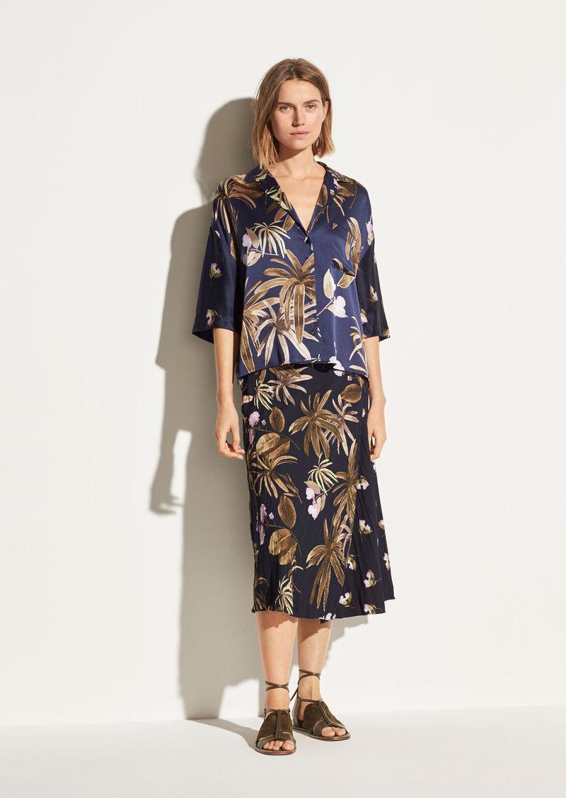 Vince Tropical Garden Satin Skirt