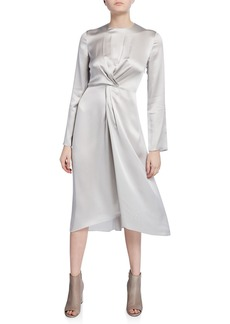 Vince Twist-Front Long-Sleeve Silk Midi Dress