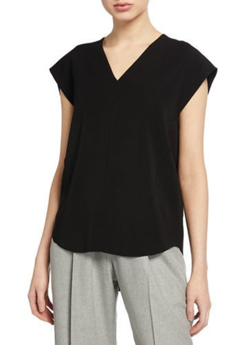 Vince V-Neck Cap-Sleeve Blouse
