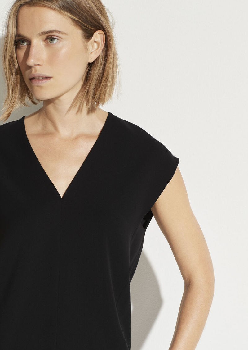 Vince V-Neck Cap Sleeve Blouse