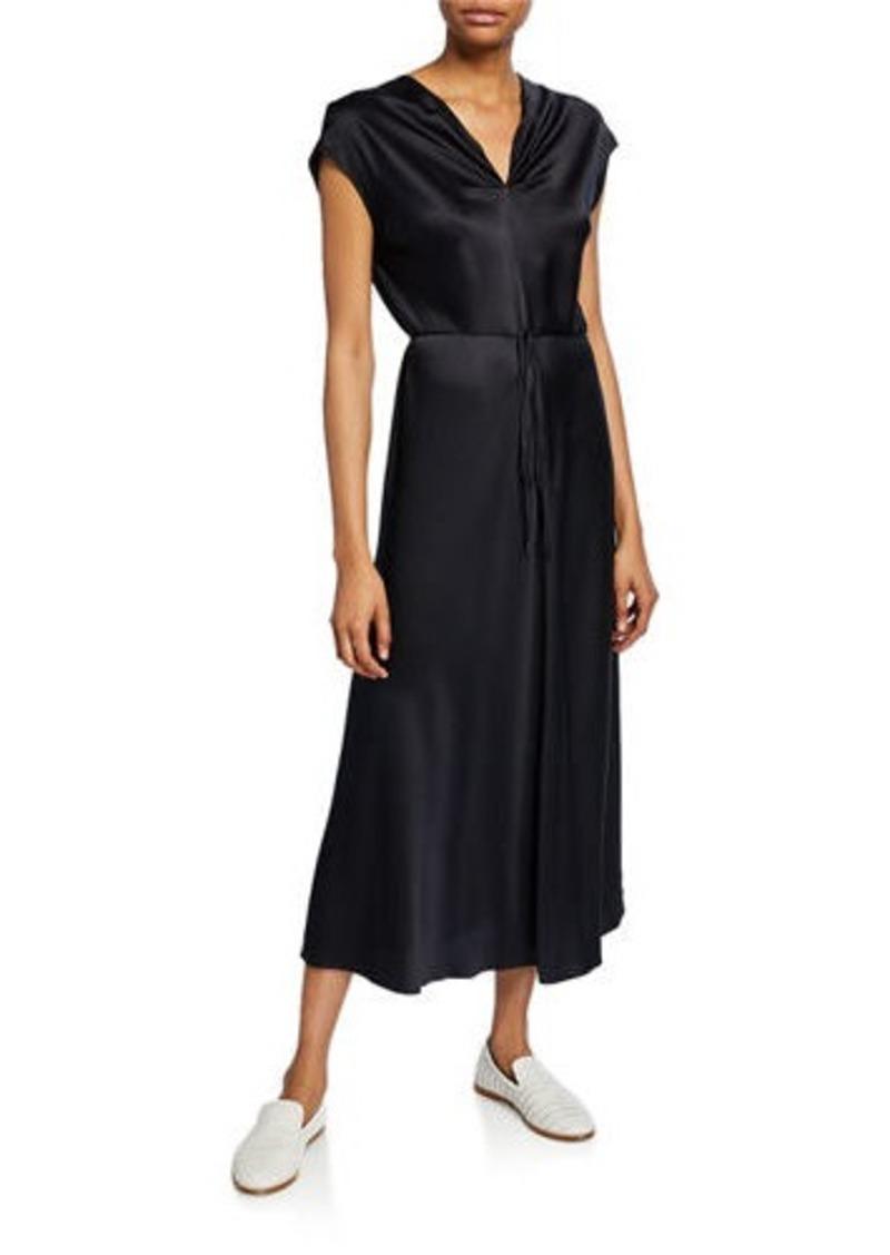 Vince V-Neck Draped Silk Dress