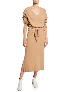 Vince V-Neck Long-Sleeve Side-Slit Midi Dress