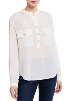 Vince V-Neck Long-Sleeve Silk Utility Blouse