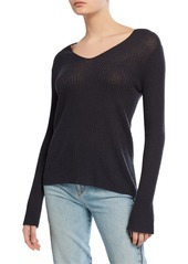 Vince V-Neck Ribbed Long-Sleeve Wool-Cashmere Top