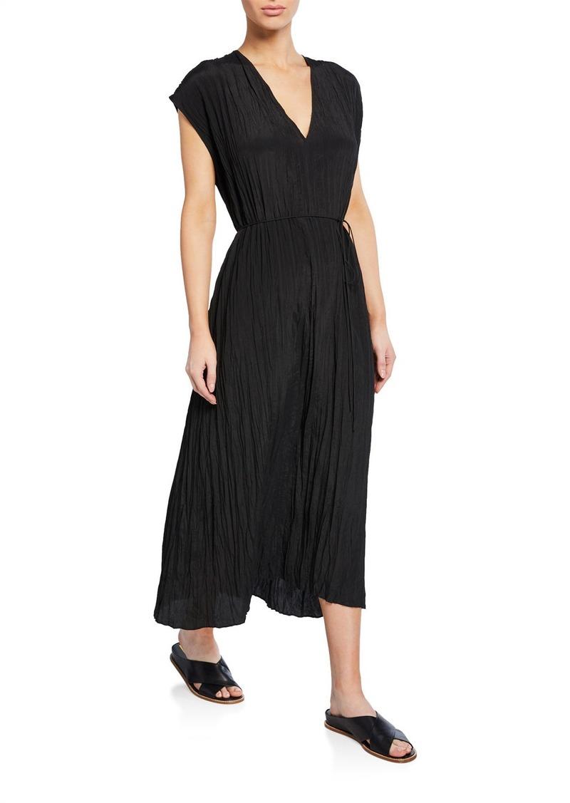 Vince V-Neck Short-Sleeve Pleated Crinkle Dress