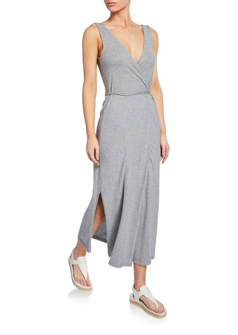 Vince V-Neck Sleeveless Jersey Wrap Dress