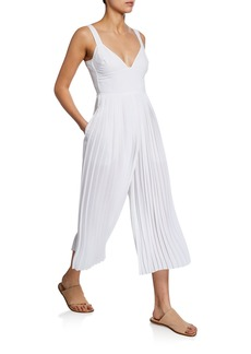 Vince V-Neck Sleeveless Pleated Crop Jumpsuit