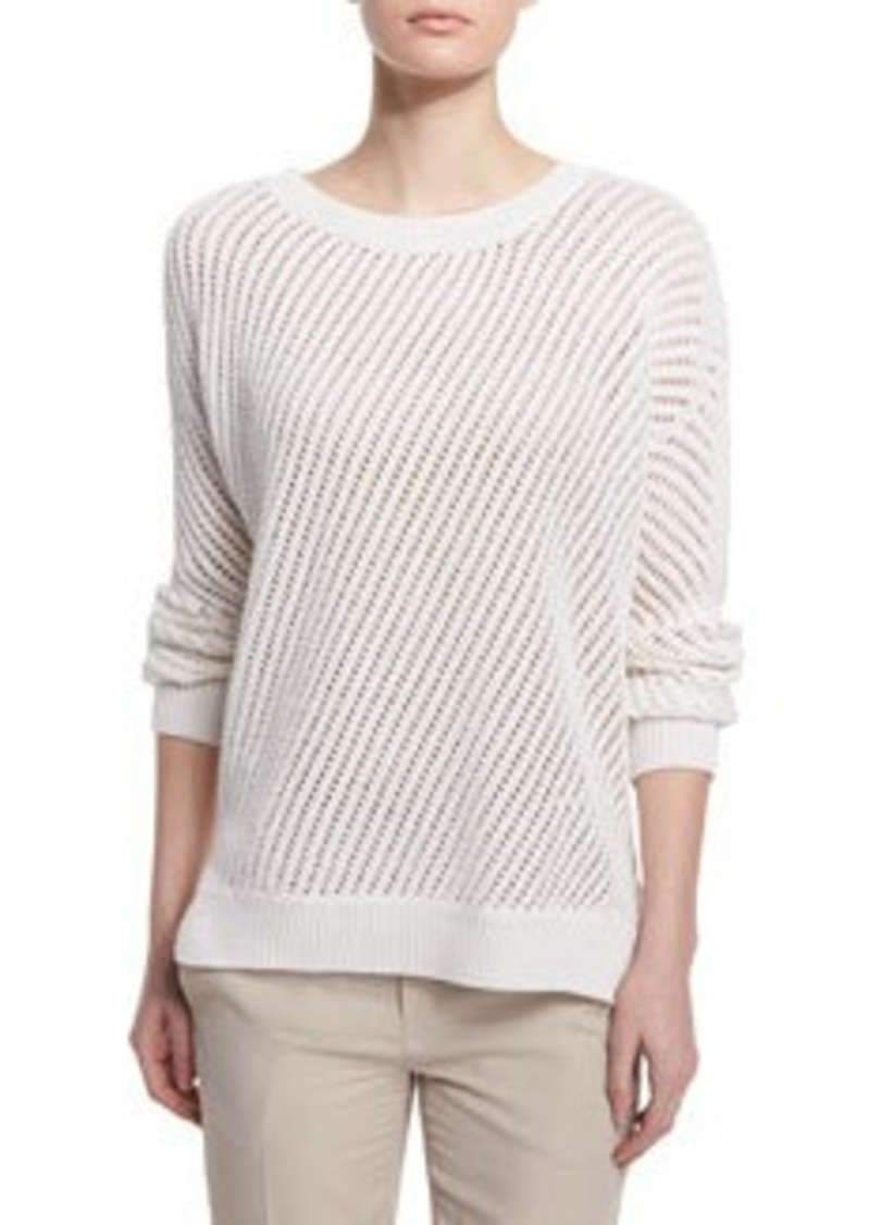 Vince Mesh-Stitched Long-Sleeve Pullover Sweater