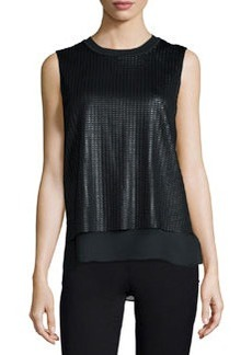 Vince Sleeveless Blouse with Mesh Overlay