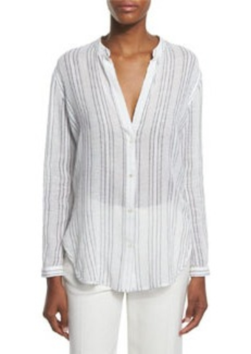 Vince Striped Split-Neck Button-Down Shirt