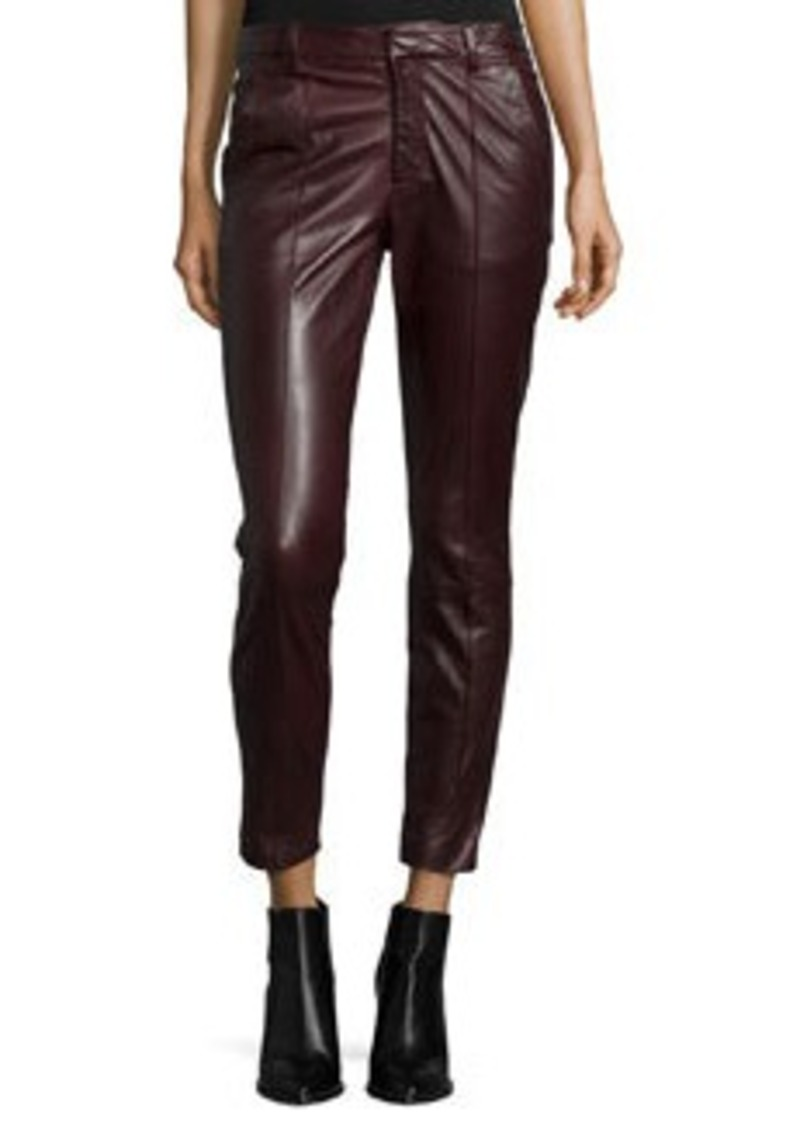 Vince Mid-Rise Leather Pintuck Trousers