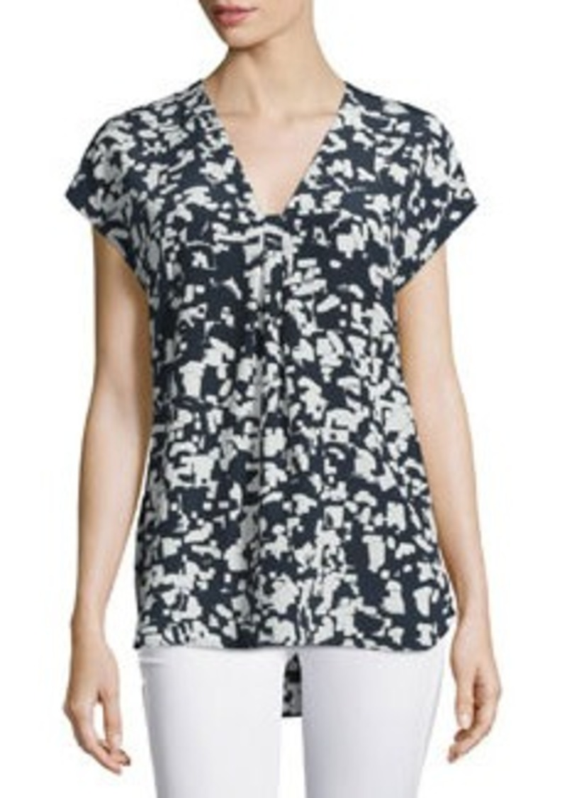 Vince Confetti-Print Silk V-Neck Top