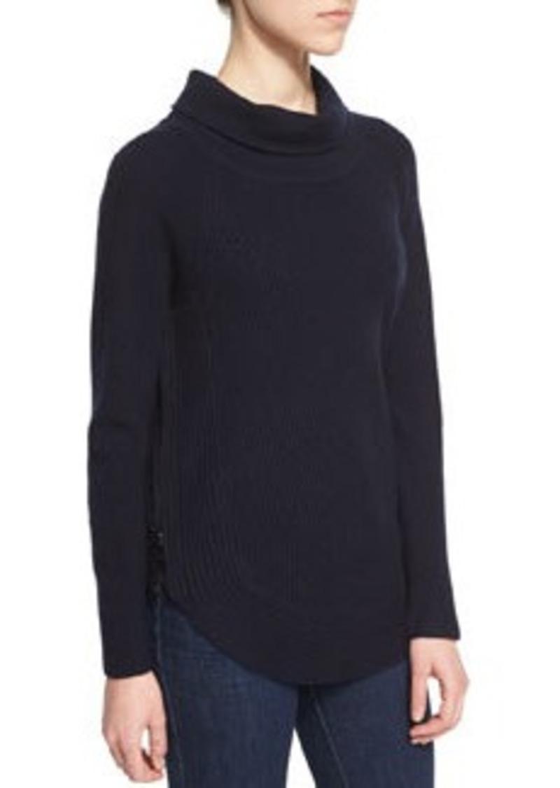 Vince Side-Zip Ribbed Turtleneck Sweater