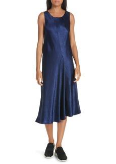 Vince Asymmetrical Crinkled Satin Dress