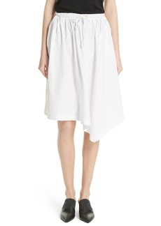 Vince Asymmetrical Drawstring Cotton Skirt