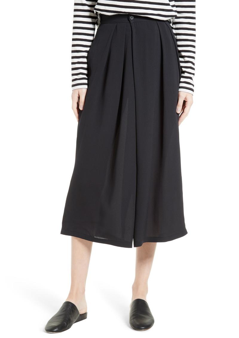 Vince Asymmetrical Pleated Silk Culottes