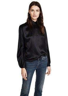 Vince Band Collar Long Sleeve Blouse