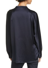 Vince Band Collar Silk Blouse