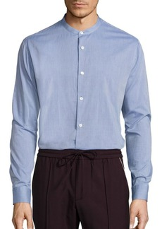 Vince Banded Collar Cotton Shirt