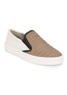 Vince Banler Crocodile-Embossed Leather Slip-On Sneakers