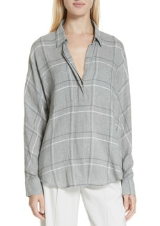 Vince Bar Plaid Cotton Blend Popover Blouse