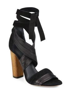 Vince Beatrice Leather & Suede Wraparound Block-Heel Sandals