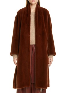 Vince Belted Faux Fur Long Coat