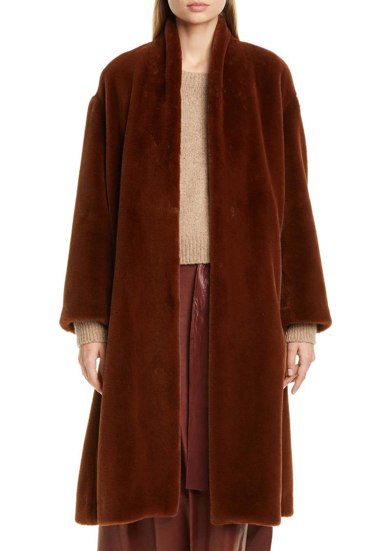 Vince Belted Faux Fur Long Coat