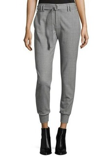 Vince Belted Jogger Suiting Knit-Cuff Pants