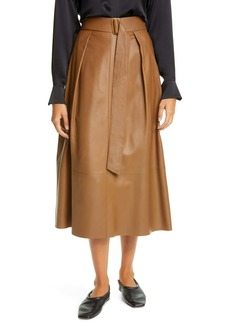 Vince Belted Leather Skirt