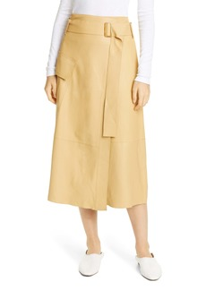Vince Belted Leather Wrap Skirt