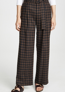 Vince Belted Plaid Wide Leg Pants