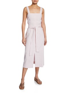 Vince Belted Wide-Strap Dress with Slits