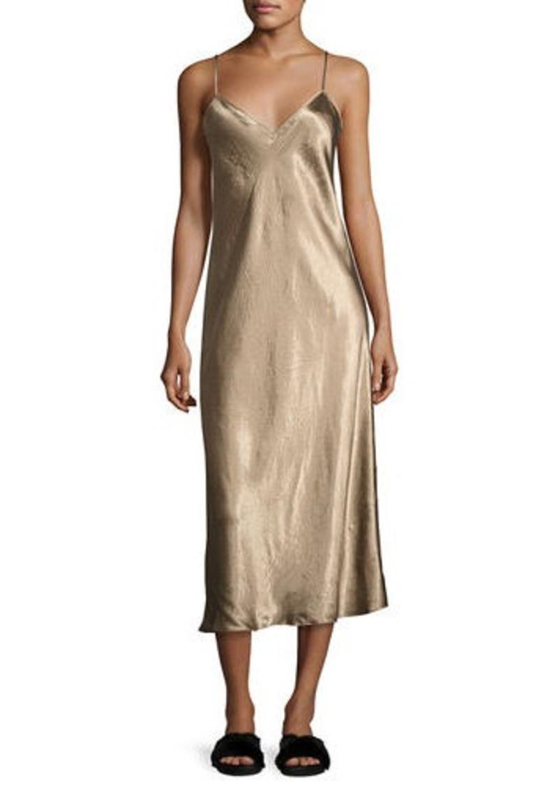 Vince Vince Bias-Cut Satin V-Neck Midi-Length Slip Dress | Dresses